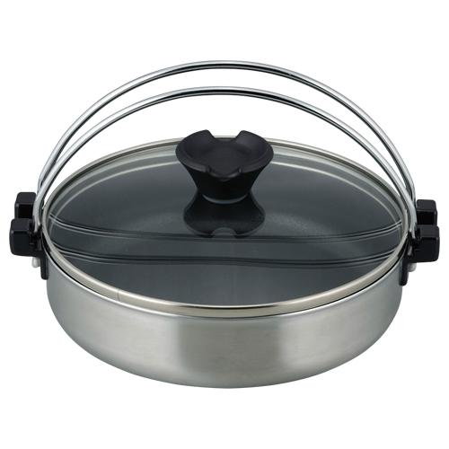 ジャストパン IH対応(ガラス蓋付)二層鋼ミニすきやき鍋18cm