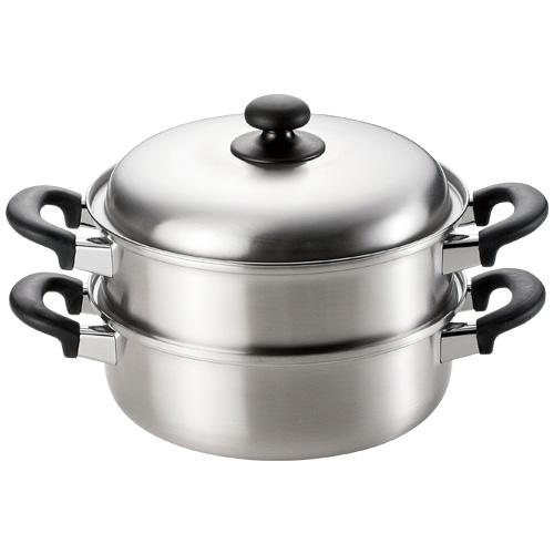 燕三(えんぞう) 三層鋼二段蒸し器24cm