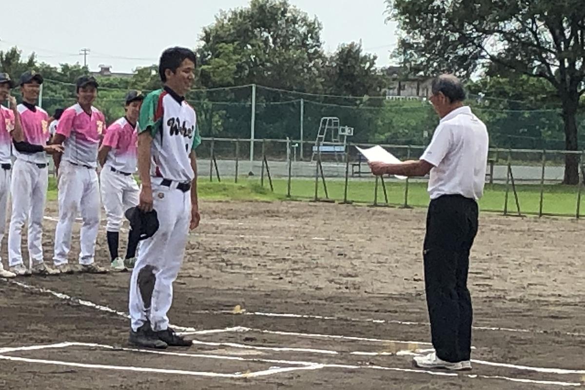 平成31年度三条野球連盟会長杯大会Bクラス最優秀選手に選ばれた金子友直選手