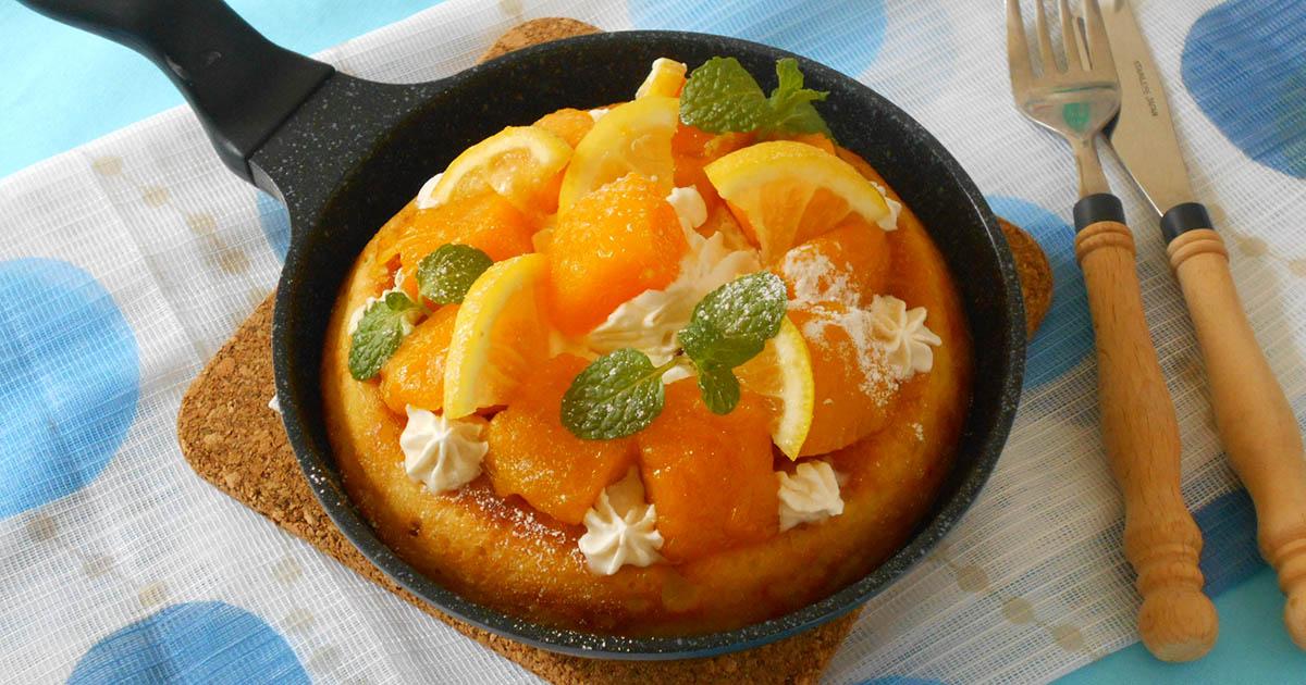 マンゴーレモンソースのトロピカルパンケーキ
