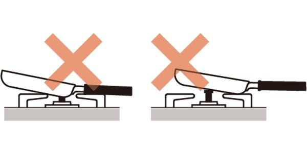 フライパンがガスコンロの上で不安定になります。