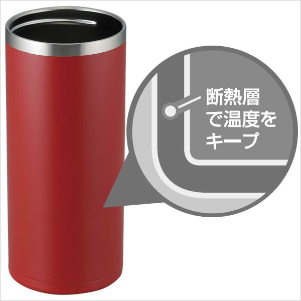 ステンレス真空断熱構造で飲み物の温度が長持ちします。