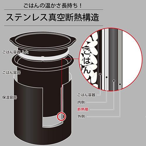 ごはん容器はステンレス真空断熱構造で、温かさが長持ちします