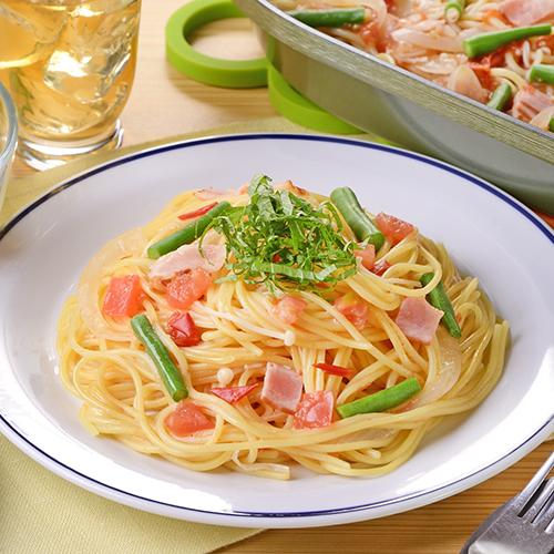 旬野菜の彩りワンパンパスタ
