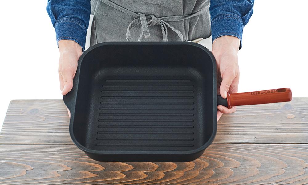 Dish&Chill(ディッシュアンドチル) IH対応ガラス蓋付グリルパン 27×27cm