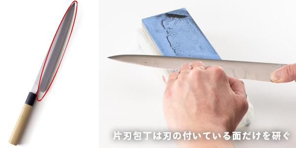 片刃包丁は刃の付いている面だけを研ぎます。