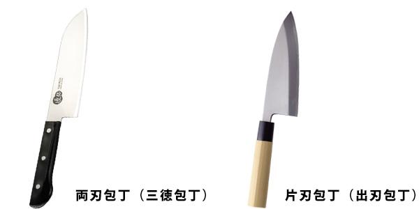 左が両刃包丁、右が片刃包丁です。