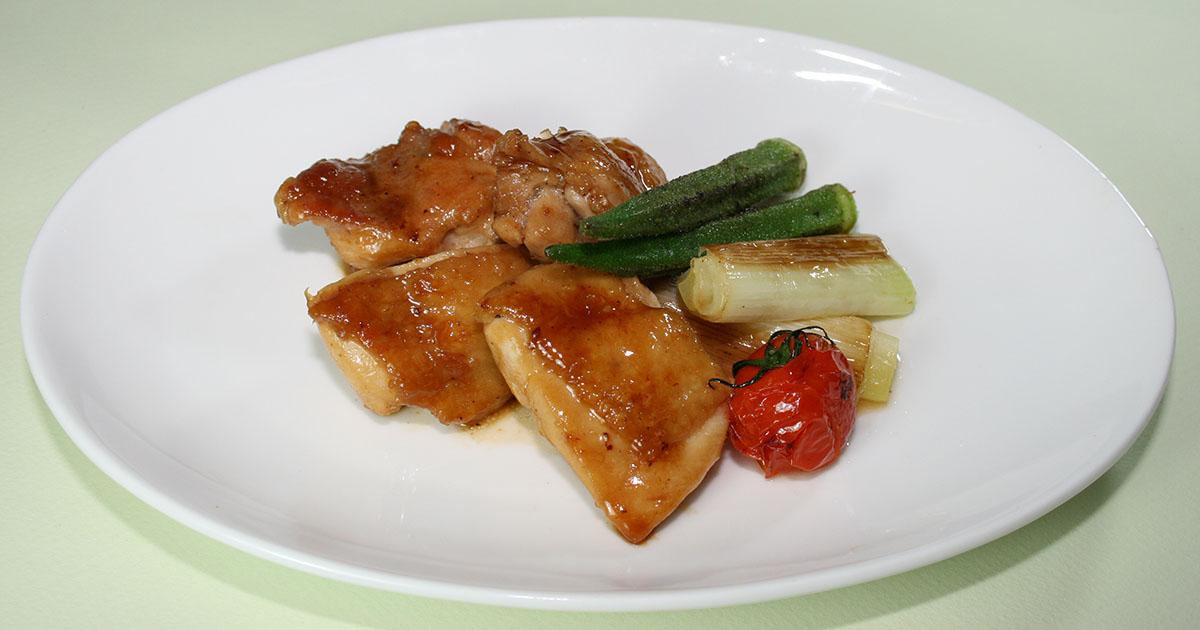 鶏の照り焼きと焼き野菜