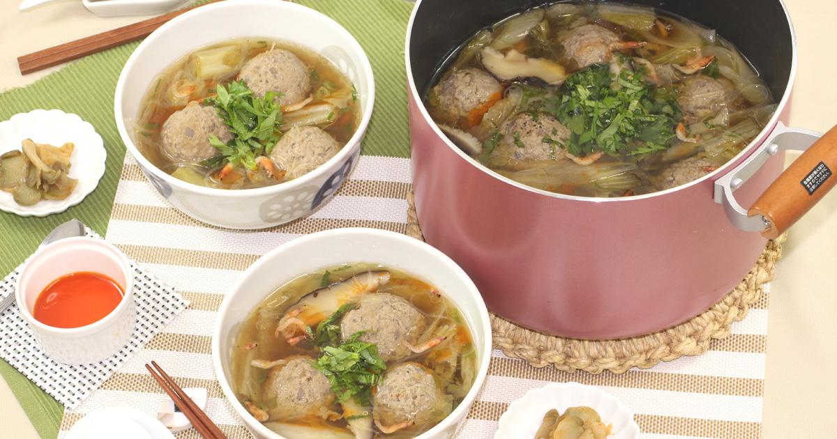れんこん入り肉団子と白菜の台湾風スープ