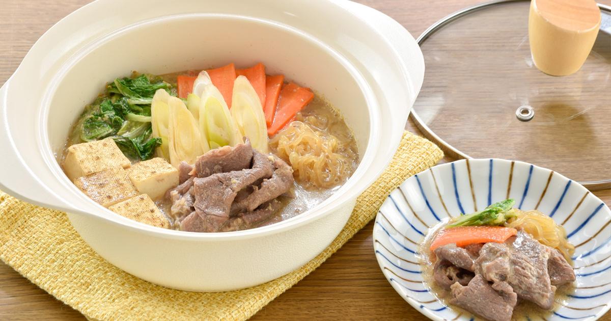 ハイブリットすき焼き×⾖乳⼀⼈鍋