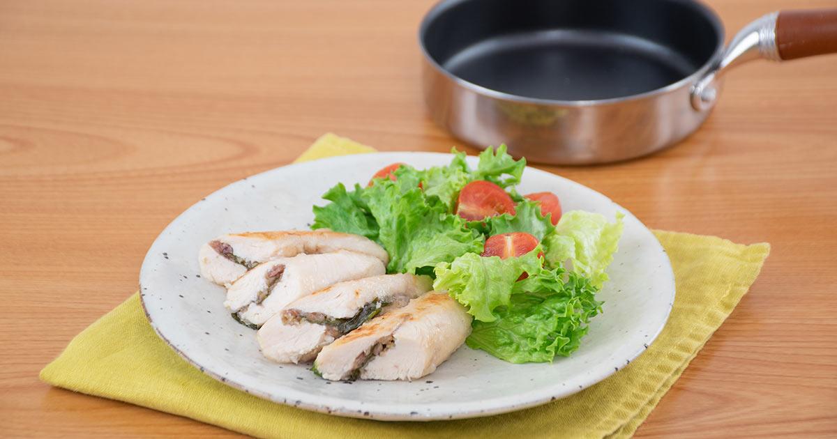 鶏ささみの梅⾁はさみ焼き