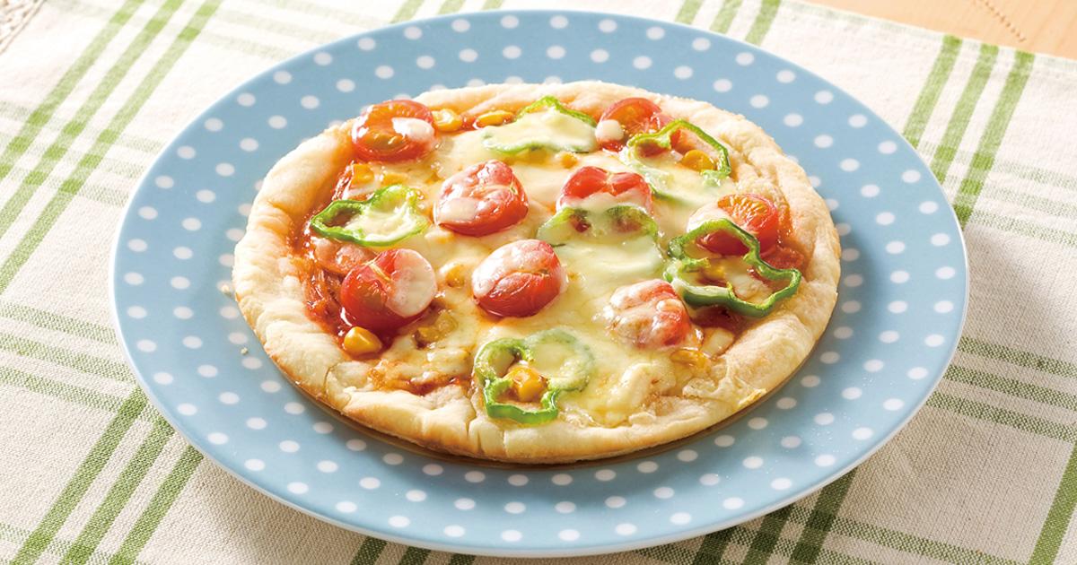 グリルでミックスピザ