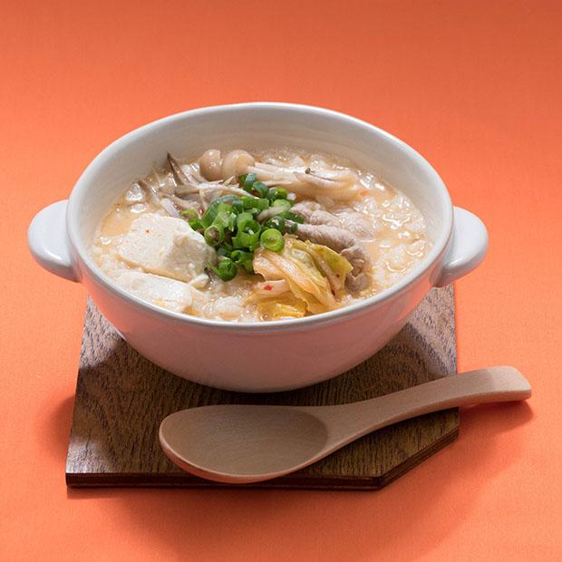 アレンジレシピ「豚キムチ風味雑炊」